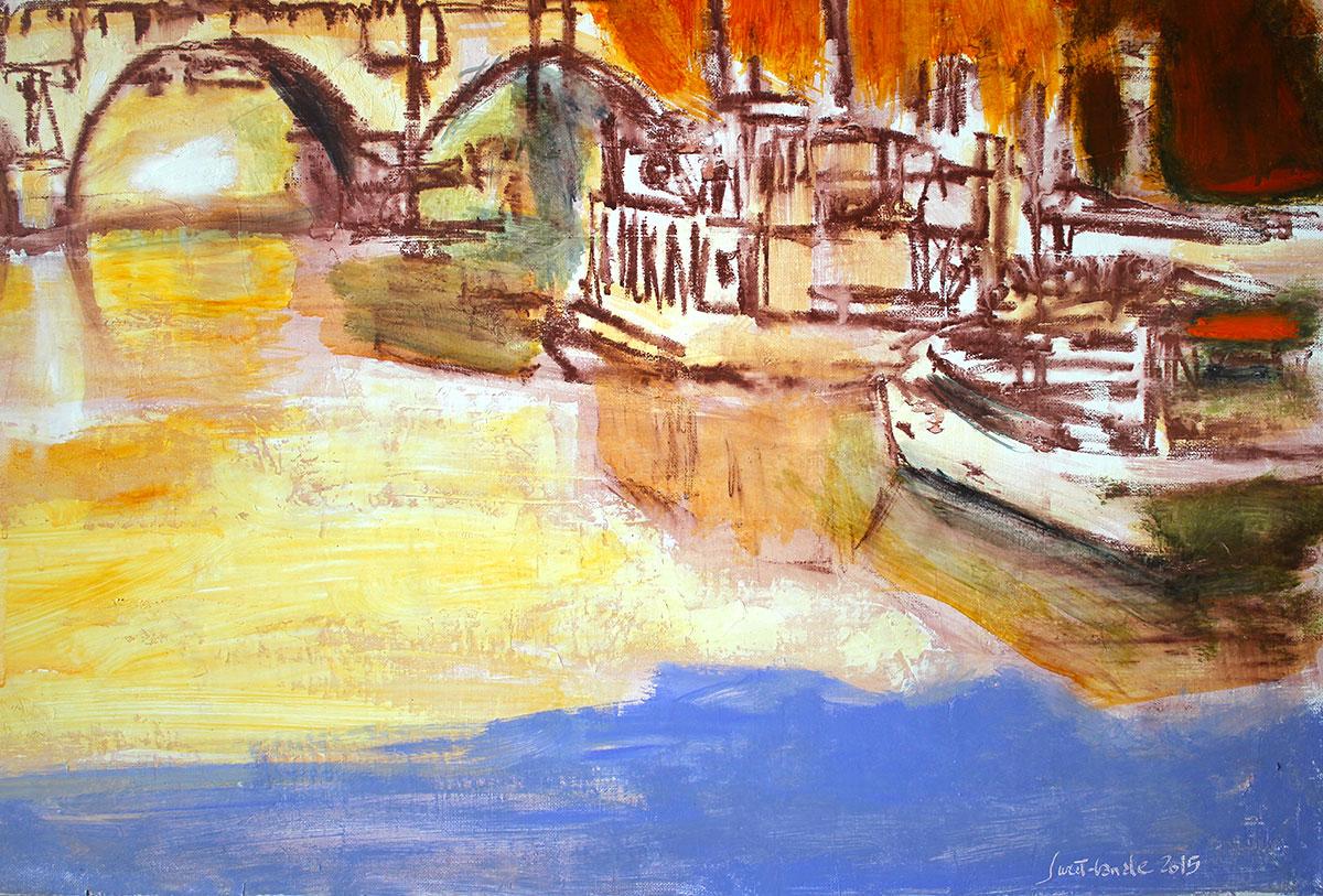 le pont neuf a huile sur toile de 100 cm x 80 cm ebay
